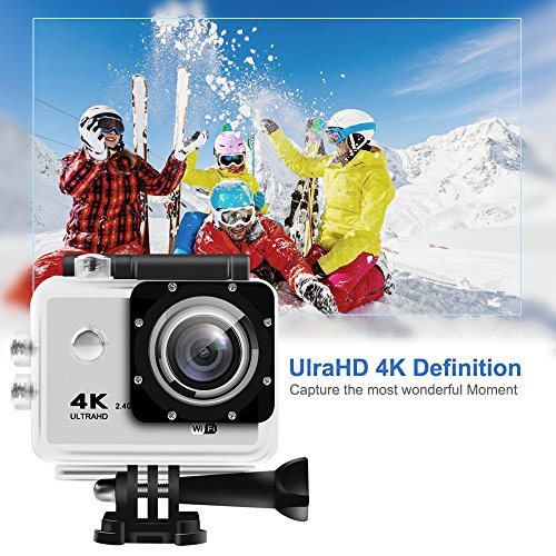 Action Camera - HEIHEI 4K WiFi Full HD Sports Waterproof Camera, 16MP 98ft Underwater Cam with 2.0 Inch Display, 170° Wide Angle Lens, Remote Control W/Kit of Accessories for Surfing, Skiing, Diving