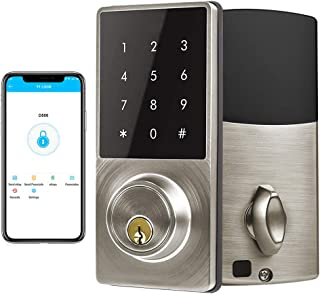 Smart Deadbolt Lock, LED Keypad Door Lock, Electronic Bluetooth Enabled APP, Digit Keyless Entry, Klwenas Maec Easy to Install, Silver