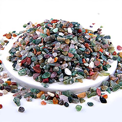 ZLDDE Cuentas de Piedra Colorido 3-5 mm 100 g Mixed Natural Gravas Chip Beads Irregular Energía Gema Piedra Beads para el Tanque de Peces Decoración de Bonsai Unisexo (Color : Indian Agate)
