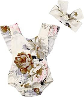 Newborn Girl Floral Strap Romper Baby Girls Ruffle Sleeveless Onesie Infant Girl Backless Print Summer Clothes