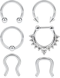 6-12PCS 16G 316L Stainless Steel Septum Hoop Nose Ring Horseshoe Rings Cartilage Daith Tragus Clicker Retainer Body Piercing Jewelry