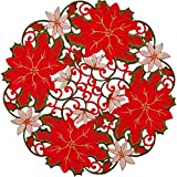 Simhomsen Embroidered Christmas Hoilidays Table Doilies Round Red Poinsettia Placemats Centerpieces (Round 16'4PCS)