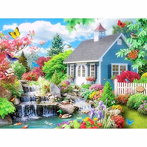 DIY 5D Diamond Painting Kit Casa de jardin Full Drill Completos Crystal Rhinestone Adultos Child Lienzo De Punto De Cruz Bordado Art Craft Para Decoración de la Del Hogar Regalo Round Drill,50x70cm