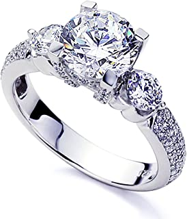 Platinum Plated Sterling Silver Ring 2 carat Round CZ Stone Beautiful Wedding Engagement Ring (Size 5 to 9)