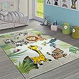 Paco Home Kinderteppich Kinderzimmer Dschungel Tiere Giraffe Löwe AFFE Zebra Beige Creme, Grösse:80x150 cm