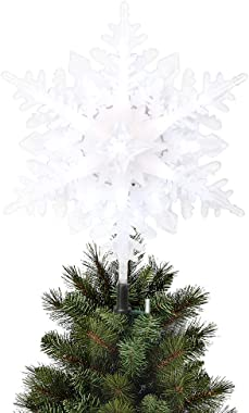EAMBRITE Christmas Snowflake Treetop Lighted Four Layers Tree Topper with White Glitter for Christmas Tree Decoration
