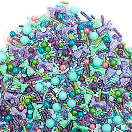 Sweets Indeed Sprinklefetti Mermaid Sprinkle Mix - Gluten-Free Color Sprinkles for Baking - Cupcake and Cake Topper - Mermaid
