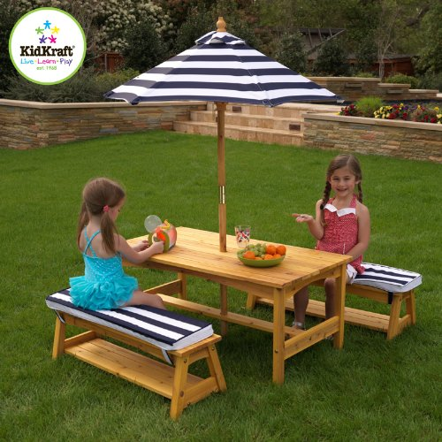 Outdoor Table and Bench Set with Cushions and Umbrella
