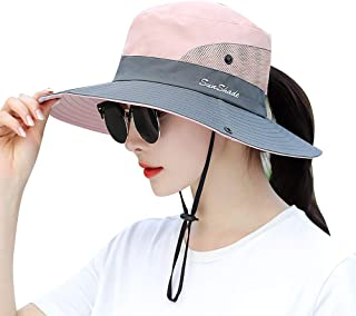 Lvaiz Women's Sun Hat Outdoor UV Protection Bucket Mesh Boonie Hat Adjustable Fishing Safari Cap Waterproof