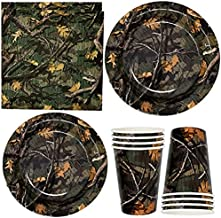 """Hunter Tree Camouflage Party Supplies Tableware Set 24 9"""" Paper Plates 24 7"""" Plate 24 9 Oz Cups 50 Lunch Napkins for Hunti..."""