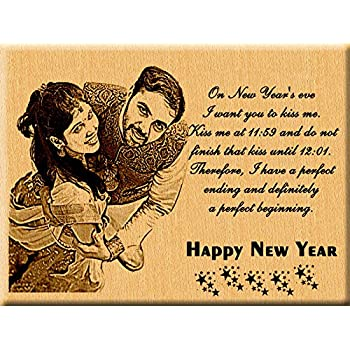 Incredible Gifts India New Year Gift Ideas - Engraved Photo Plaque for Wife and Husband (7x5 inches, Wood, Brown)