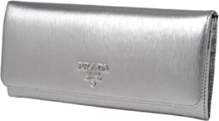 Women's Metallic Cromo Silver Vitello Move Long Leather Flap Wallet 1MH132