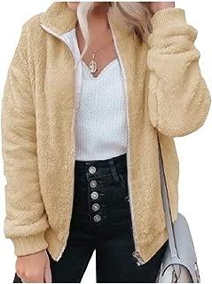 EnergyWD Womens Fleece Solid Color Long Sleeve Zipper Stitching Luxury Windbreakers