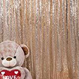 JYFLZQ Champagne Sequin Backdrop Curtain 5FTx6FT 1Panel Sparkly Photography Background Drapes Glitter Photo Booth Backdrops for Birthday Wedding Party