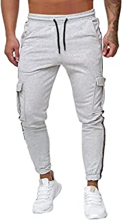 SANFASHION Herren Men's Cotton Casual Baggy Pants Elasticated Trousers For Holiday Wear Summer Boho Hippie Wide Leg With P...