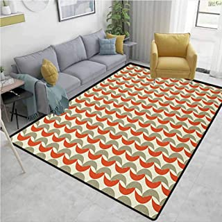Geometric Carpet for Living Room Abstract Foliage Pattern Leaves with Retro Colors Nature Inspired Area Rugs for Bedroom Vermilion Cream Sage Green 5'x7'