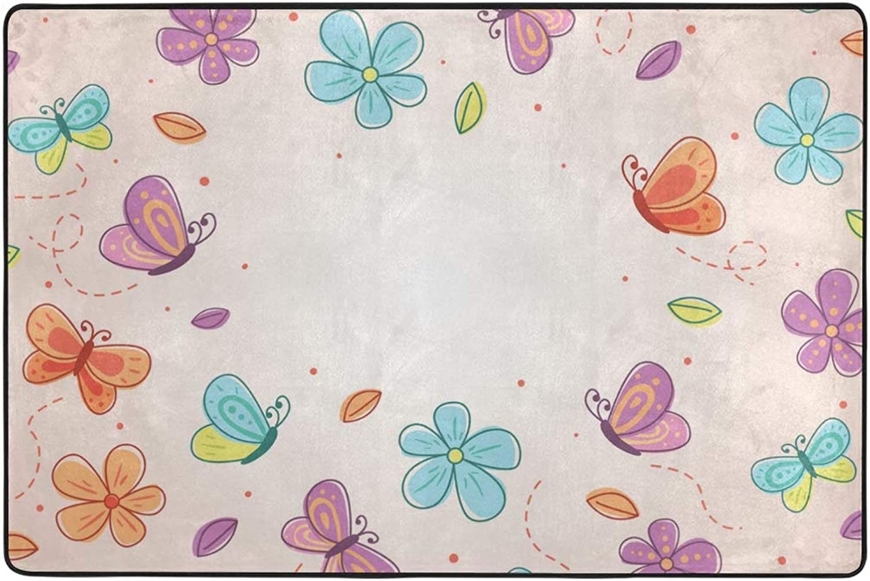 MONTOJ Exquisite Cute Cartoon Butterfly Floor mat Area Rugs Super Soft Living Room Bedroom Home Decoration Carpet Doormat Wearproof
