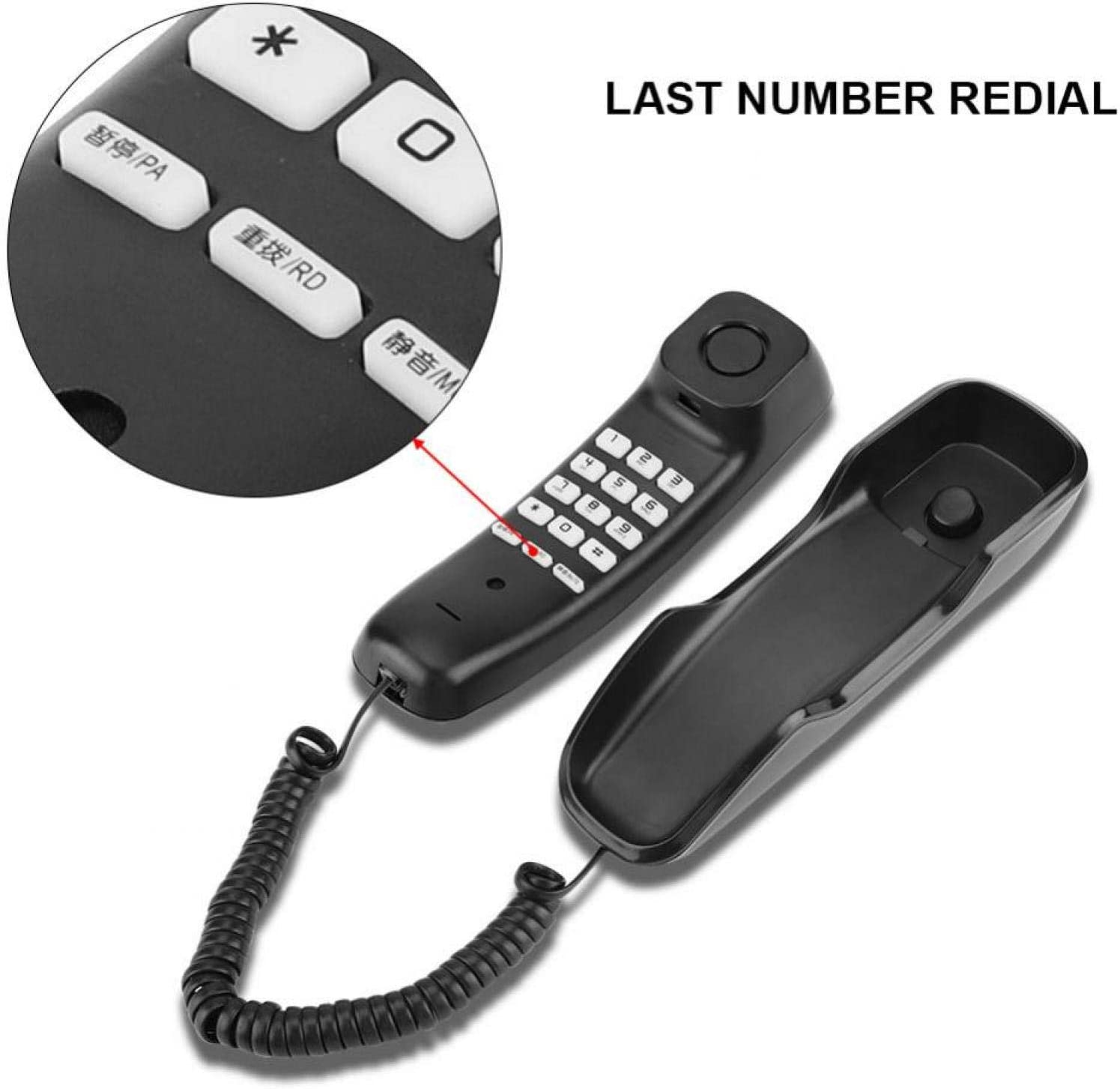 Redial Function Black Mute Clear Sound Built-in Dial Pad Office ...