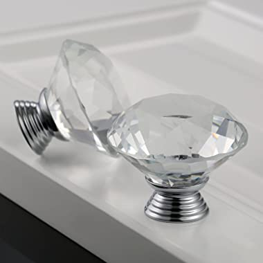 2pcs 40mm Diamond Crystal Glass Knob for Closet Cabinet Drawer Kitchen Dresser Cupboard Wardrobe,3 Size Screws,Clear