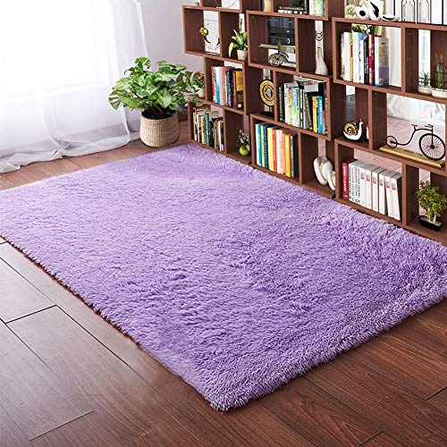 Softlife Fluffy Bedroom Area Rugs 4 x 5.3 Feet Shaggy Nursery Rug for Girls Baby Kids Dorm Room Modern Home Decorative Plush Indoor Floor Carpet, Purple
