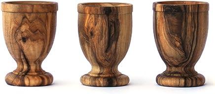 Preisvergleich für EIERBECHER-SET AUS OLIVENHOLZ von Mastro Leonardo (3 Stück) - Handarbeit aus Italien