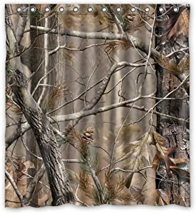 SPXUBZ Home Family Camouflage Tree Forest Shower Curtain Waterproof Bathroom Decor Polyester Fabric Curtain Sets with Hooks