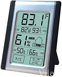 Vila Digital Thermometer and Hygrometer, 2.9x2.5 Inches, Indoor Humidity and Temperature Monitor, Bright LCD Display for Quick Reading, Convenient Touch Screen, Battery Included