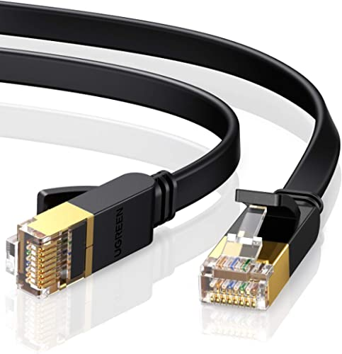 UGREEN Cat7 Ethernet Patch Cable Gigabit Right Angle to RJ45 Network Wire Cord 90 Degree Lan Cable Plug Connector Com...