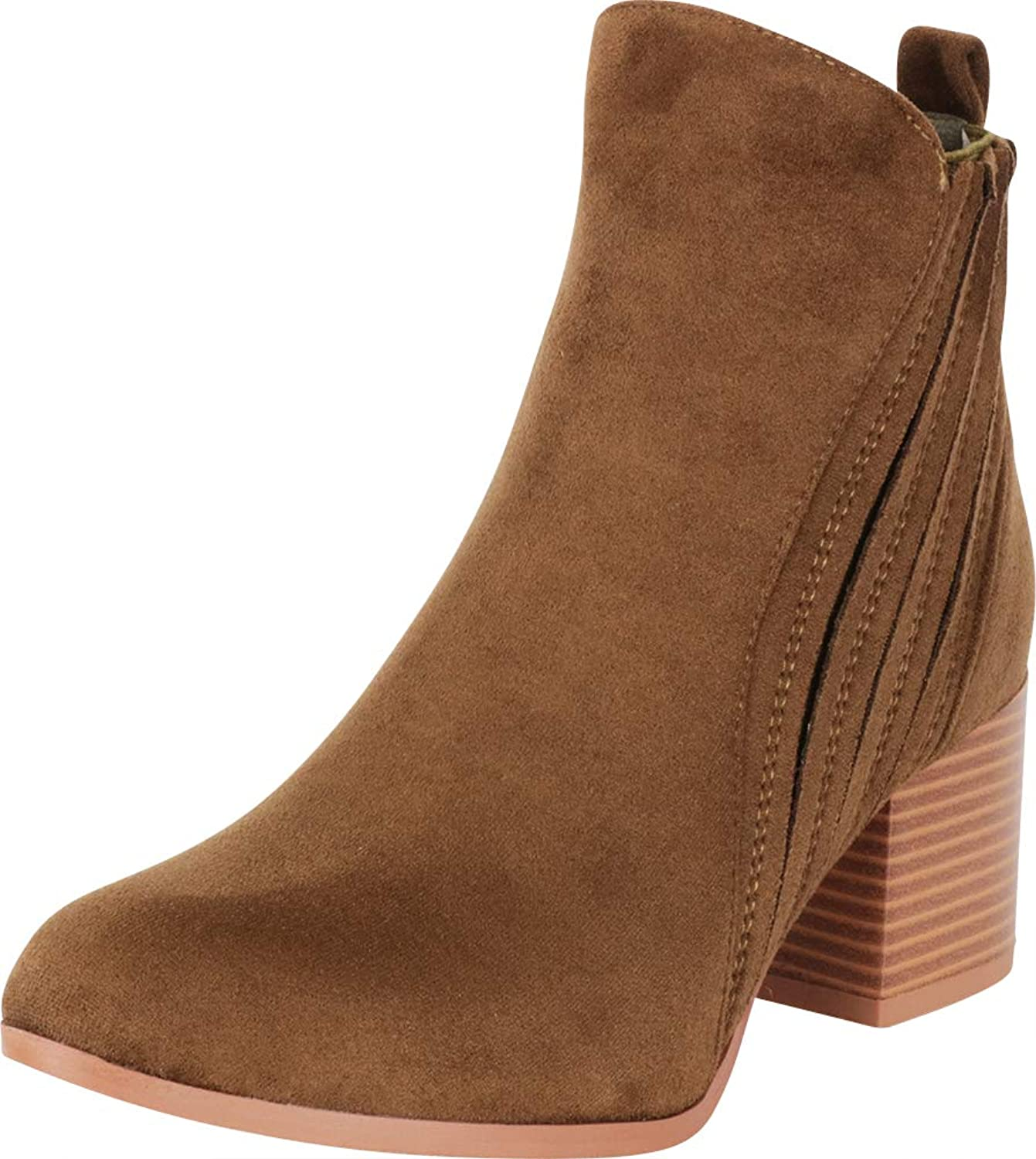 Cambridge Select Woherrar Pointed Toe Stitched Chunky Stacked Stacked Stacked Block Heel Ankle Booslips  förstklassiga kvalitet först