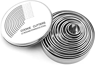 Round Cookie Cake Cutter Set - 12 pack Pastry Cutters Stainless Steel Baking Metal Circle Ring Molds Round Cutters For Muffins Crumpets Donuts & Scones