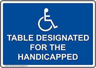 Table Designated for The Handicapped Label Decal with Symbol, 5x3.5 in. 4-Pack Vinyl for Accessible Dining/Hospitality/Retail by ComplianceSigns