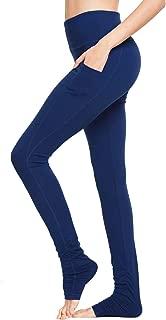 Women's High Waist Yoga Pants Over The Heel Tummy Control Tall Leggings Extra Long Side Pocket