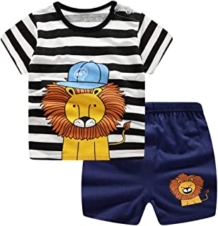 Lavany 2pc Baby Outfits Boys Girl Clothes Set Stripe Lion Short Sleeve T Shirt Pants