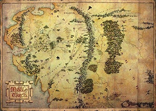 The Hobbit: An Unexpected Journey - Giant XXL Movie Poster (Map Of Middle Earth) (Size: 55 x 39) (Poster & Poster Strip Set) by Posterstoponline