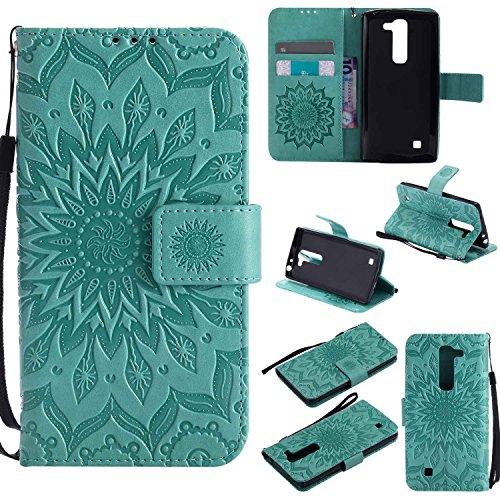 pinlu® PU Leder Tasche Etui Schutzhülle für LG G4c(5zoll)/LG Magna Lederhülle Schale Flip Cover Tasche mit Standfunktion Sonnenblume Muster Hülle (Grün)