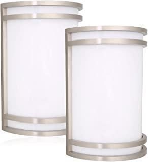 Hykolity Outdoor Wall Sconce, Brushed Nickel 12W LED Wall Mount Light Fixture, Residential 4000K Nature White LED Wall Lighting, Dimmable, Wet Location 75W Incandescent Equivalent ETL Listed - 2 Pack