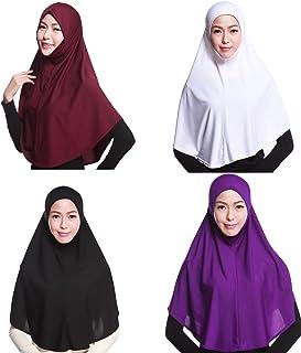 GladThink 4 X Full Cover Womens Muslim Hijab Caps Islamic Scarfs