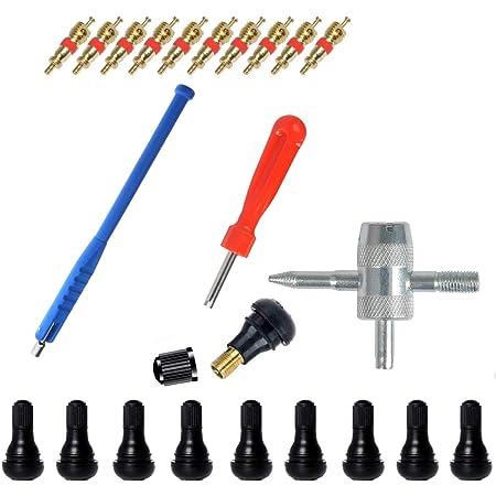 43 Pcs Reifenventilentferner Ventilwerkzeuge Set Reifenreparatur Werkzeug Ventilinstallationswerkzeug Einkopf Ventil Entferner Multifunktion Ventil Werkzeug 30 Ventilkern 10 Tr412 Ventile Auto