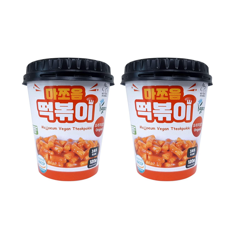 Majjoeum Vegan Korean Tteokbokki, All Vegetable Ingredients, Korean Rice Cake Topoki, Original Spicy, Pack of 2 (120g Cup)