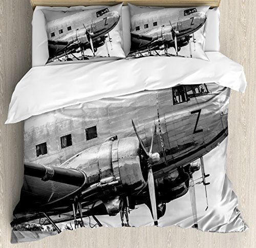 Ambesonne Vintage Airplane Duvet Cover Set, Old Airliner Cockpit Antique Engine Propellers Wings and Nostalgia Image, Decorative 3 Piece Bedding Set with 2 Pillow Shams, Queen Size, Black Grey