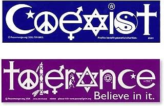 Coexist & Tolerance Peace Sign Yin-yang Interfaith Star Cross Symbol Glyph 2 Magnet Pack