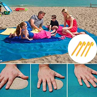 xiaopai Sand Free Beach Mat Sand Proof Magic Blanket Sandless Sand Dirt Dust Disappear Fast Dry Easy to Clean Waterproof Rug Includes 4 Stake Anchors