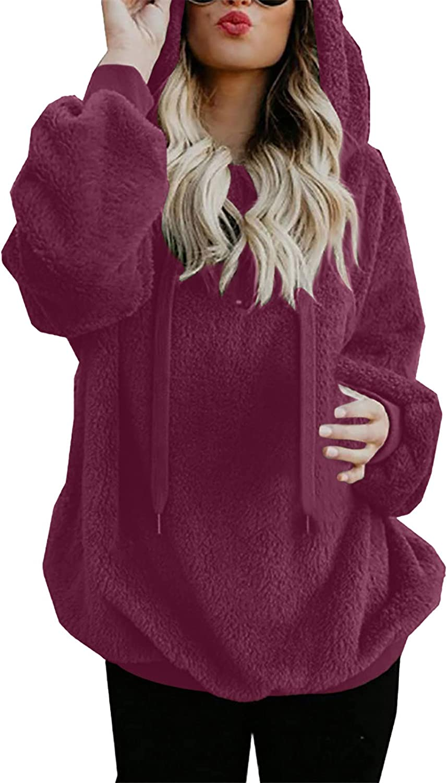 BOXIACEY Womens Hooded Sweatshirt Winter Warm Wool Zipper Coat Pockets Cotton Outwear Long Sleeve Drawstring Hoodies