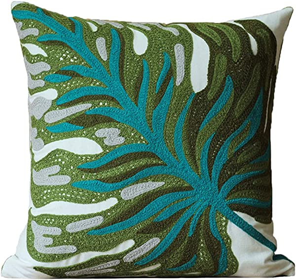 Blue Page Banana Leaf Embroidered Throw Pillow Cover Home Decorative Cushion Covers Plant Leaves Design Cotton Pillows Sham For Couch Sofa Bed 18 X 18