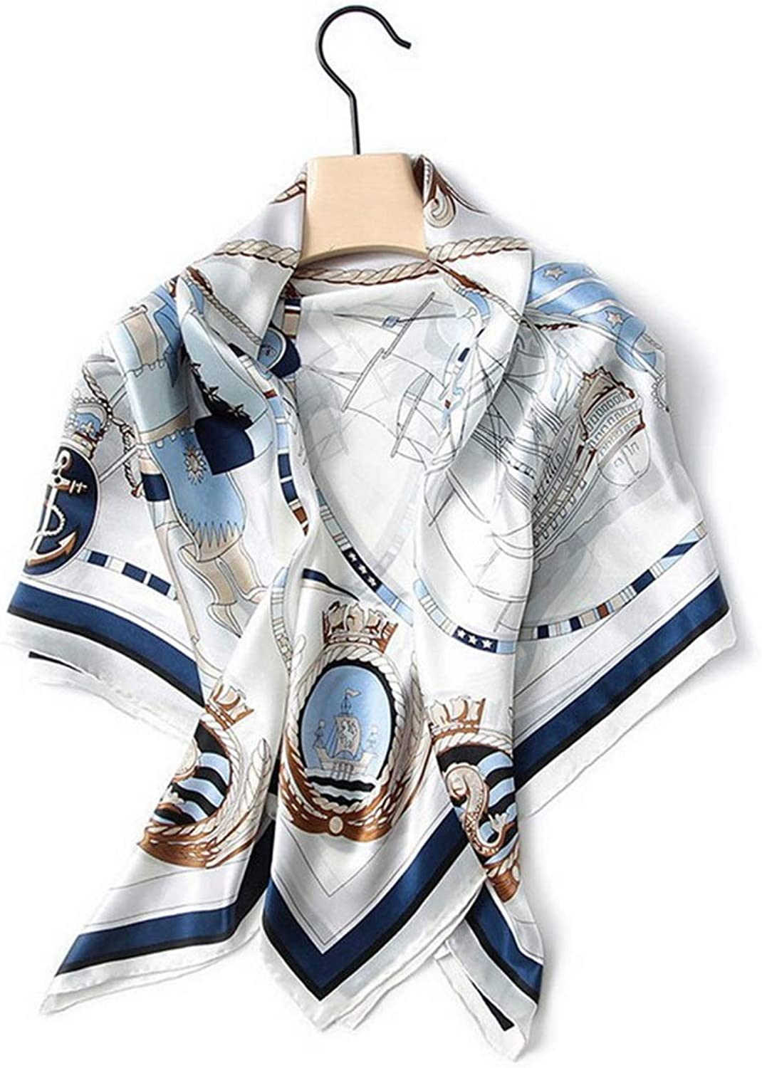 CEFULTY Exquisite Printed Ladies' Shawl Spring and Summer Seaside Sunscreen Silk Square Scarf (color   White)