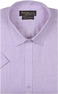 ACCOX Men's Half Sleeves Cotton Linen Plain Formal Regular fit Shirt