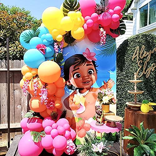 Latocos 130PCS Decoración Tropical Hawaian Globos Arco Kit Verano Colores Globos Verde Hojas Selva 13 Pulgadas Rosa Flores Decoración para Luau Playa Fiesta Hawaiana Decoraciones