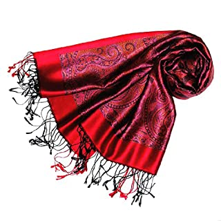 Italian Luxury Scarf Pashmina 100% Silk Pink Red 22
