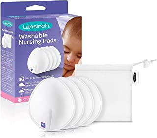 Lansinoh Reusable Nursing Pads, Pack of 4 Pads with Machine Wash Bag, Reusable Pads with Superior Absorbancy and Comfort, Bamboo Layer for Breastfeeding, Nursing Essentials