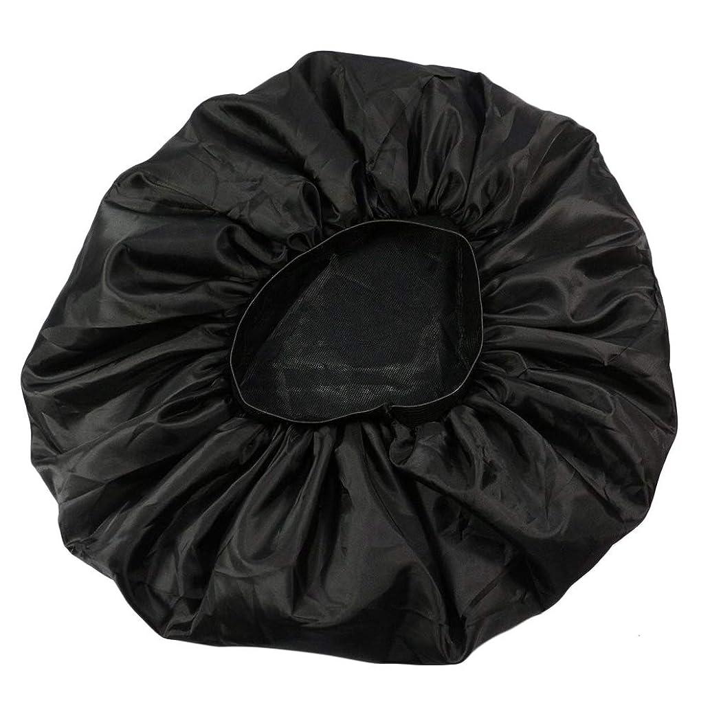 同時痛みコックLurrose 特大伸縮性のあるスリーピングキャップ防毛ナイトキャップサテンスリーピングキャップ(ブラック)